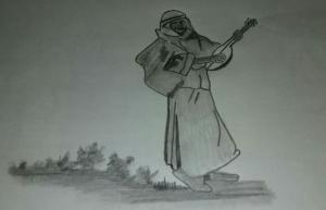 Ziryab cantando con su inseparable laúd