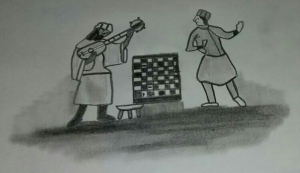 Ziryab tocando el laúd frente a un tablero de ajedrez