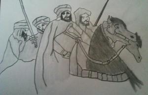 Nasr acompañando al emir de al-Andalus (en primer plano)